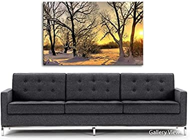 PRINTELLIGENT Canvas Wooden Box Framed Painting Landscape Footsteps in Snow Canvas Art Prints - High Definition (20 x 32 inch