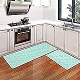 Pauwer Juego de 2 alfombrillas de cocina antifatiga, acolchadas, cómodas, antideslizantes, impermeables, cómodas, para escritorio de cocina (44 x 70 cm + 44 x 120 cm)