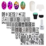 AIMEILI Nail Art Stamping Templates Manicure Tool Kit, 5pcs Nail Stamping Plates, 1 Latex Peel Off Tape, 2 Stamper, 2 Scraper