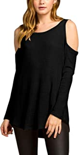 Pink Queen Women's Round Neck Long Sleeve Cold Shoulder Waffle Knit Tunic Tops Blouses