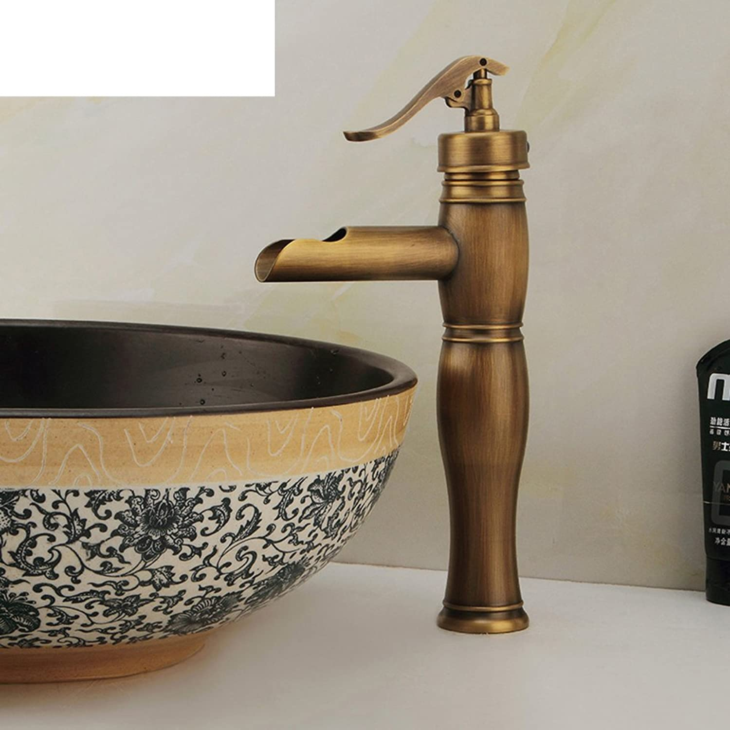 HCP European antique faucet basin mixer Oblique mouth hot and cold taps bronze Playing a leading bucket