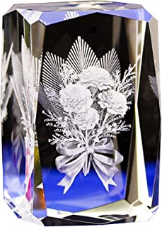 Jaswass 3D Laser Etched Crystal Flower 2x2x3.14 Inch with Gift Box for Anniversary Keepsake & Paperweight, Wedding Souvenirs, Christmas Birthday Valentines Wedding Gift