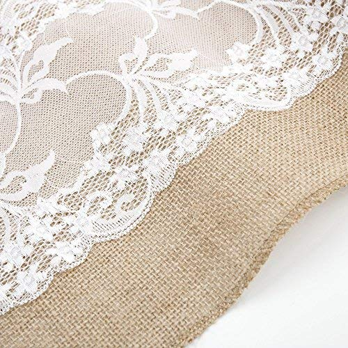 "Newdanceus 12X108"" Set of 5 Burlap Lace Hessian Table Runner Rustic Natural Jute Country Wedding Party Dining Table Decoration Farmhouse Decor"