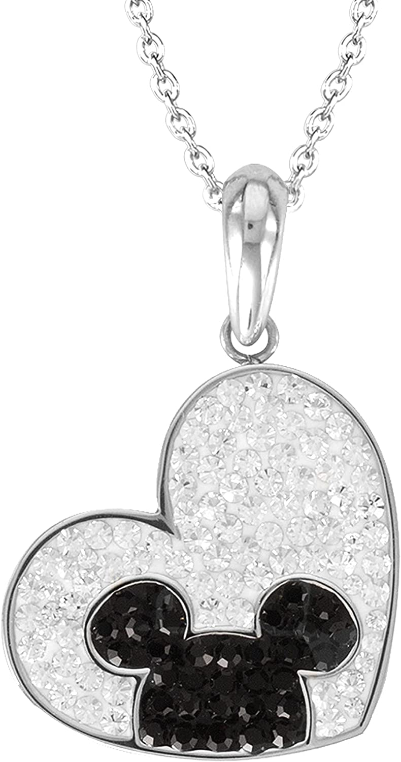 Disney Mickey Mouse Stainless Steel Crystal Heart Necklace, Official License