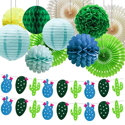 Summer Theme Cactus Banner Garland, Pom Poms Paper Honeycomb Flowers Tissue Paper Fan Paper Lanterns for Tropical Party Birthday Party Luau Hawaii Party Decoration