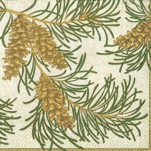 Entertaining with Caspari Boxed Cocktail Napkins, Pine Branches, Natural, Box of 40 by Caspari
