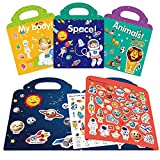 Toys for 2 3 4 5 Year Old Girls Boys Gifts,Reusable Sticker Books for Kids,Toddler Toys Age 2-4,Stickers for Kids Toys Age 2-5,Toddler Learning Toys,Birthday Gifts for 2 3 4 5 Year Old Girls Boys