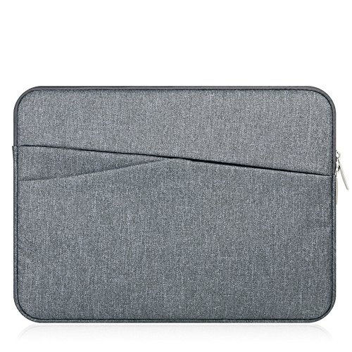 11-11.6 Inch Laptop Sleeve Case Bag Water-Resistant Notebook Computer Carrying Pouch Cover with Pockets for MacBook/HP/Acer/Asus/Dell/Lenovo/Samsung/Surface Ultrabook Chromebook (Gray)