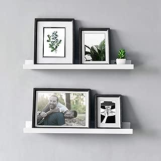 WELLAND Vista Photo Ledge Floating Wall Shelf, 24-inch, Set of 2, White