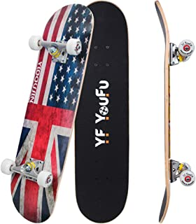 YF YOUFU Complete Skateboards, 31 inch Pro Skateboard for Boys/Girls/Kids/Youth/Adults, Tricks Skate Board for Beginners & Pro, Double Kick 7 Layer Canadian Maple Wood Concave Skateboard