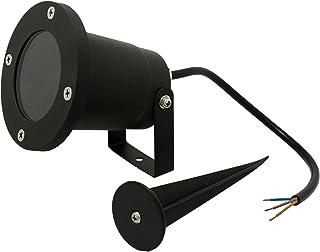 5 x Opus Outdoor Gu10 Garden Spike Lights - Glass Cover with 16 cm Spike No Plug - Ground Mount or Wall Lights IP65 Matt B...