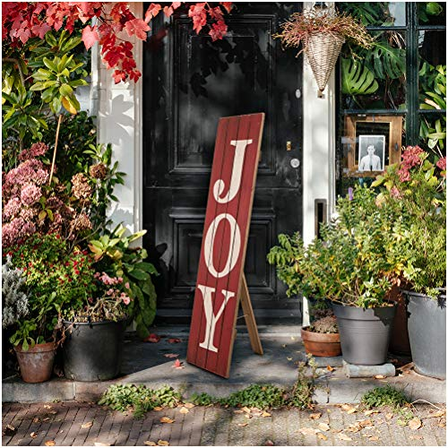 Glitzhome Christmas Decorative Wooden Sign 'JOY' Hanging Sign for Wall, Door, Porch (Red)