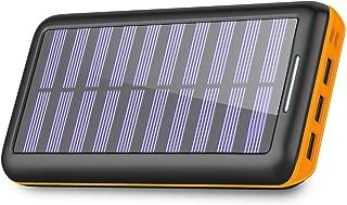 モバイルバッテリー ソーラーチャージャー 24000mAh ソーラー充電器 大容量 急速充電 2USB入力ポート3USB出力ポート iPhone/iPad/Android各種対応(Black&Orange)