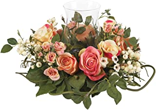 Nearly Natural 4685-AP Mini Rose Candelabrum Silk Flower Arrangement