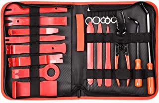 19Pcs Auto Audio Trim Removal Tool Set & Clip Plier Upholstery Fastener Remover Nylon Dash Door Panel Stereo Tool