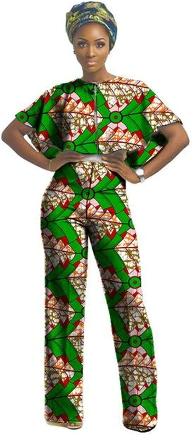 African Clothing For Women Nigerian Ghanaian Style Dashiki Print Lady Jumper Top and Pants jumpsuit