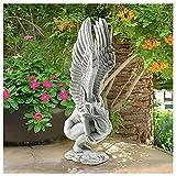 Weinlese Engel Art Skulptur, Engel Mädchen Gartendeko Gartenfigur Garten Dekoration, Erlösungsengel Figur, Schutzengel Figuren Skulptur aus Harz, Für Gartendeko Wohnzimmer Schlafzimmer Dekor (A)