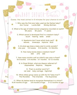 Paper Clever Party Pink and Gold Baby Shower Trivia Game Fun Facts ( Pack of 25 )