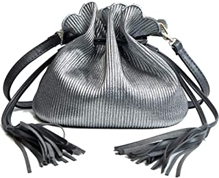 Khouses Ladies fashion shoulder bag casual retro Messenger bag cute mini shoulder bag (Color : Silver, Size : 22 * 16 * 20cm)