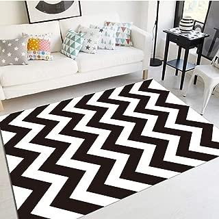 Fancyoung Chevron Rug Geometric Black White Kitchen Mats and Rugs Stripe Pattern Area Rug, Doormat Runner Carpet 2x3 Feet
