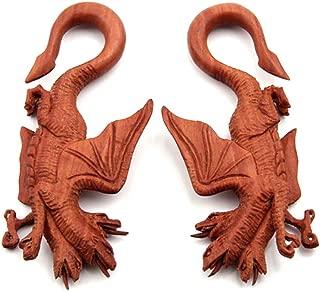 JewelryVolt Pair Three Headed Dragon Organic Sawo Wood Ear Hook Taper Plugs Gauges