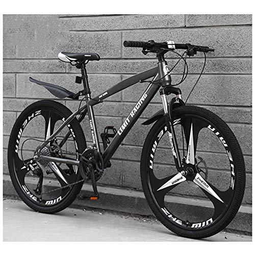KXDLR Mens Bicicleta De Montaña, La Suspensión Delantera, 26 Pulgadas, Llantas, De 17 Pulgadas Marco De Aleación De Aluminio con Doble Freno De Disco,Gris,24 Speed