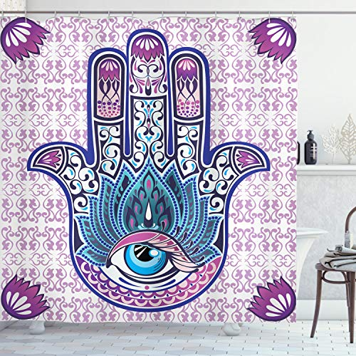 Ambesonne Ethnic Shower Curtain, Oriental Mystical Hand with Eyes and Floral Swirling Ornaments Mehndi, Cloth Fabric Bathroom Decor Set with Hooks, 70' Long, Purple White