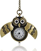 Sexy Sparkles Bronze Owl Pocket Watch with Chain Necklace Wings Open and Close Battery Included