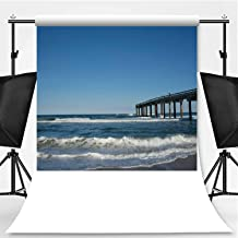 St Augustine Beach on a cloudless Sunny Day Theme Backdrop Backdrop Background for Photography,St Johns County Ocean Pier Surrounded by Calm Ocean Waves,8.2x8.2ft