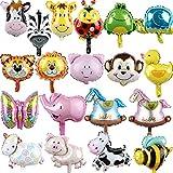 Miotlsy Globo con Cabeza de Animal 19 Piezas Globos Animales, Globo de Papel de Aluminio, Fiesta de Cumpleaños, Fiesta, Salida Decoración Globo Animal Globos Animales de la Selva