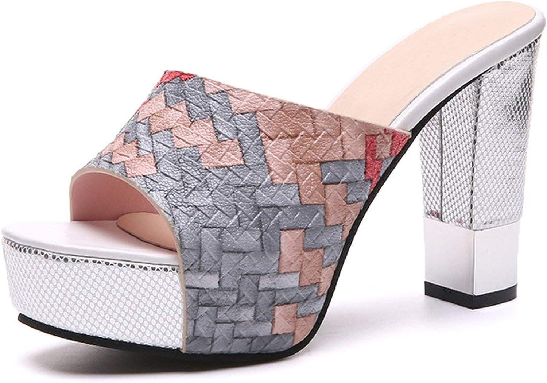 Kvinnor Kvinnor Kvinnor sommar Slippers Sexiga Super Square High klackar Peep Toe Party skor kvinna Platform Sandals  säljer bra över hela världen