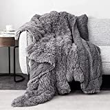 Pawque Luxury Faux Fur Throw Blanket Super Soft Oversized Throw Blankets, 90x90 inches, Decorative Blankets for Sofa Couch Bed Chair Photo Props, Breathable & Washable, Grey
