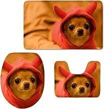 HUGS IDEA Chihuahua Print 3 Piece Cute Bathroom Rug Set Bath Mat, Contour, and Lid Toilet Cover