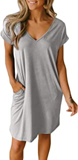 BTFBM Women V-Neck Short Sleeve Solid Color Casual Loose Fit T-Shirt Tunic Dress Pajamas with Two Side Pockets