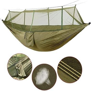 DSTong Camping Hamac avec Moustiquaire de Voyage 2 Personnes Hamac Léger Respirante à Parachute Portable pour Outdoor Camping