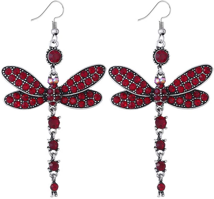 Urns Ashes Funeral Vintage Rhinestone Dragonfly Pendant Ethnic Drop Dangle Earrings Women Jewellery Gift,Colour Name:Blue Pet Memorial Dog cat Urn (Color : Red)