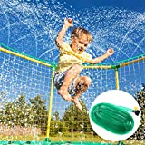iBaseToy 39ft Trampoline Sprinkler for Kids - Outdoor Water Party Games Trampoline Accessories, Fun Summer Water Party Toys for Boys Girls Adults