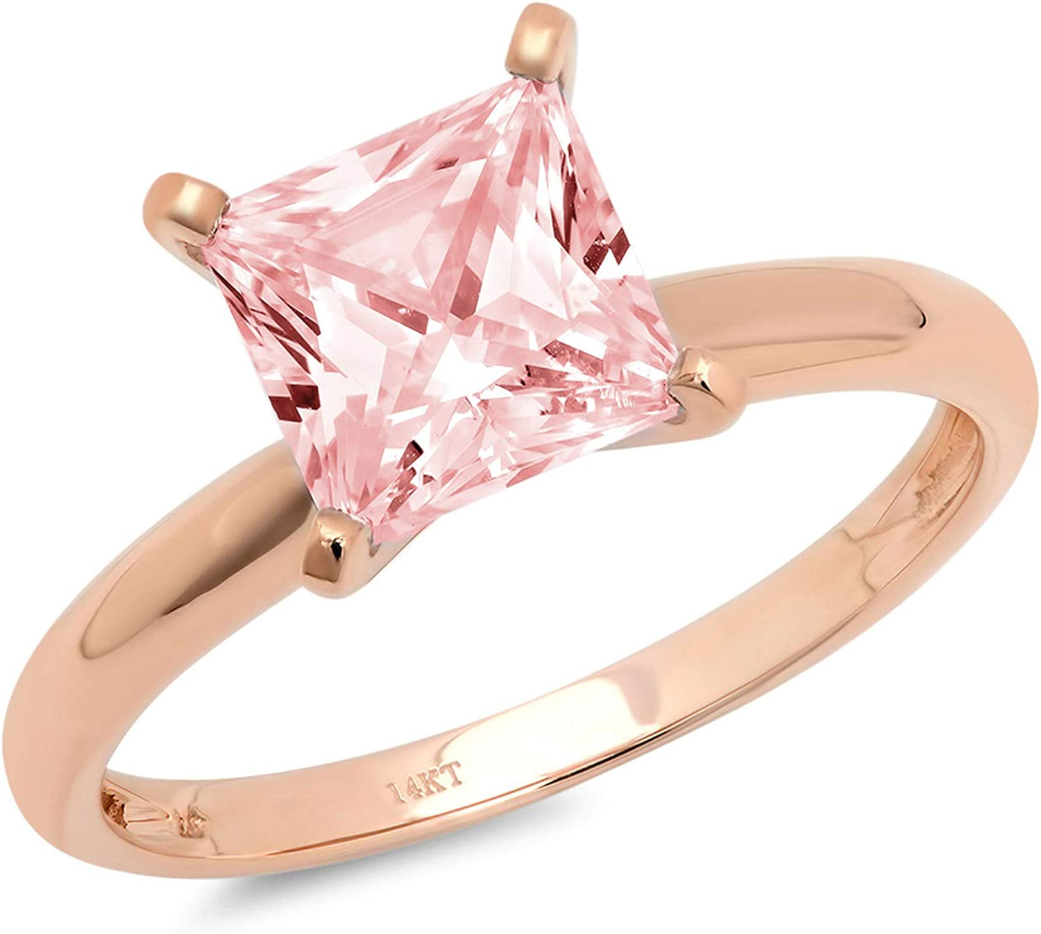 0.4ct Brilliant Princess Cut Solitaire Pink Simulated Diamond Cubic Zirconia Ideal VVS1 D 4-Prong Engagement Wedding Bridal Promise Anniversary Ring in Solid 14k Rose Gold for Women