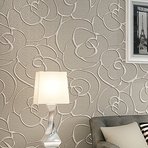 Ketian rullo di carta da parati moderna, minimalista con rosa 3D in tessuto non tessuto a rilievo per soggiorno camera da letto Cream&Gray 0.53mx10m=5.3m2