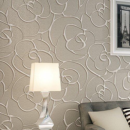KeTian Modern Minimalistisch 3D Rose Blume Vlies tief geprägtes strukturiertes Wohnzimmer Schlafzimmer Tapete Roll Creme&graue Farbe 0,53 m (1,73 'W) x 10 m (32,8' L)=5,3 m² (57 sq.ft)