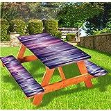 LEWIS FRANKLIN - Cortina de ducha de berenjena de lujo, cubierta de mesa de picnic de lujo, líneas de vigas de colores, mantel de borde elástico, 70 x 72 pulgadas, juego de 3 piezas para mesa plegable