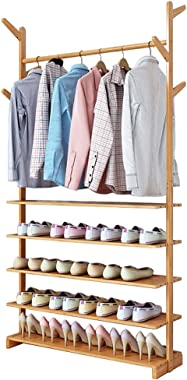 Bamboo Coat Rack, Hall Tree Free Standing, with 5-Layer Shelf and 6 Hooks, for Clothes, Scarves, Shoes and Baskets, Height 176 cm (Size : 70×24×176cm)