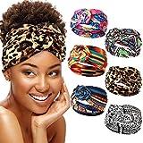 6 Pieces African Headband Boho Print Headband Yoga Elastic Hairband Twisted Knot Turban Headwrap for Women