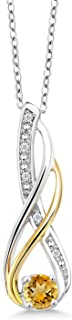 2 Tone 10K Yellow Gold And 925 Sterling Silver Diamond Infinity Pendant 0.30 Ct Round Yellow Citrine