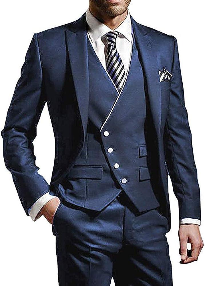 3 Pieces Elegant Mens Classic Tailored Business Slim Fit Tuxedo Groom Groomsmen Formal Wedding Suit