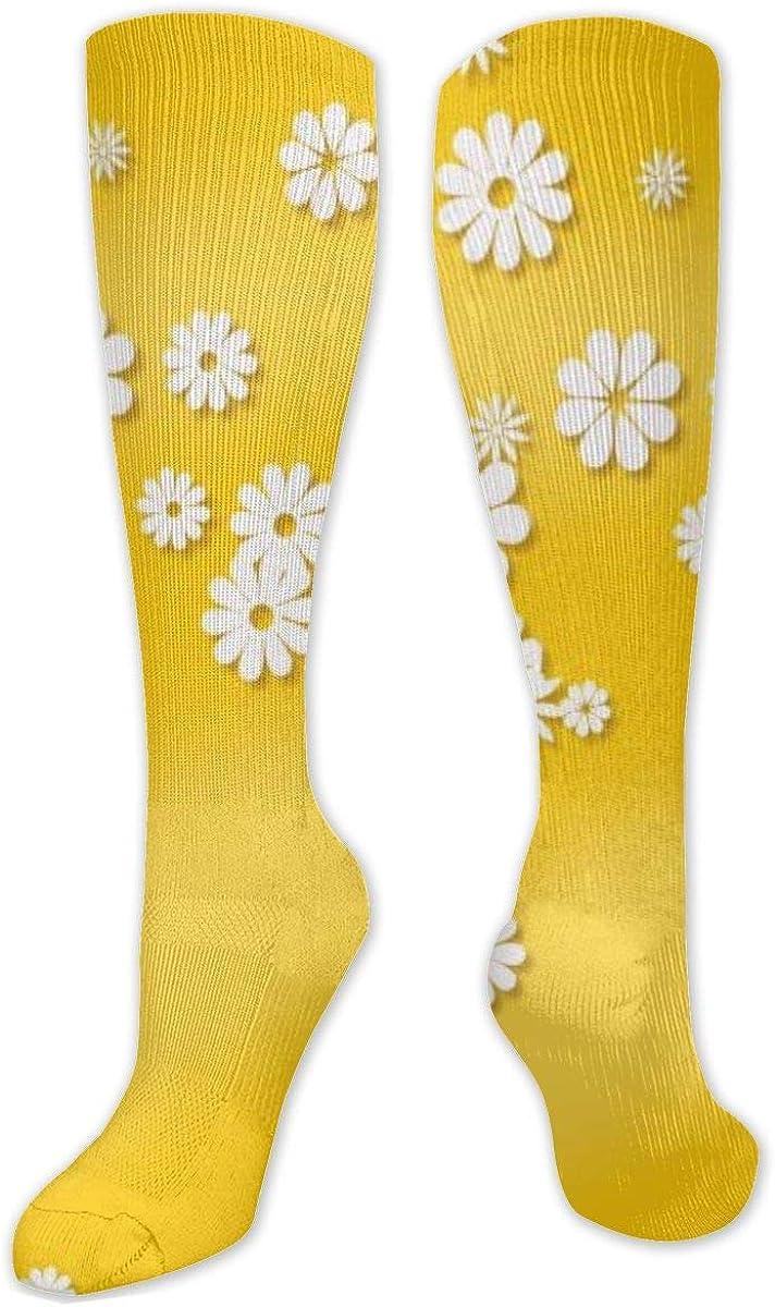 White Flower Knee High Socks Leg Warmer Dresses Long Boot Stockings For Womens Cosplay Daily Wear
