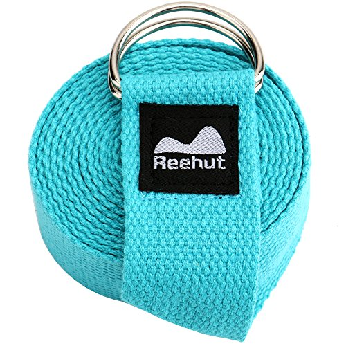 REEHUT Yoga Strap (8ft) - Durable Cotton Exercise Straps w/Adjustable D-Ring Buckle for Stretching, General Fitness, Flexibility and Physical Therapy(Sky Blue)