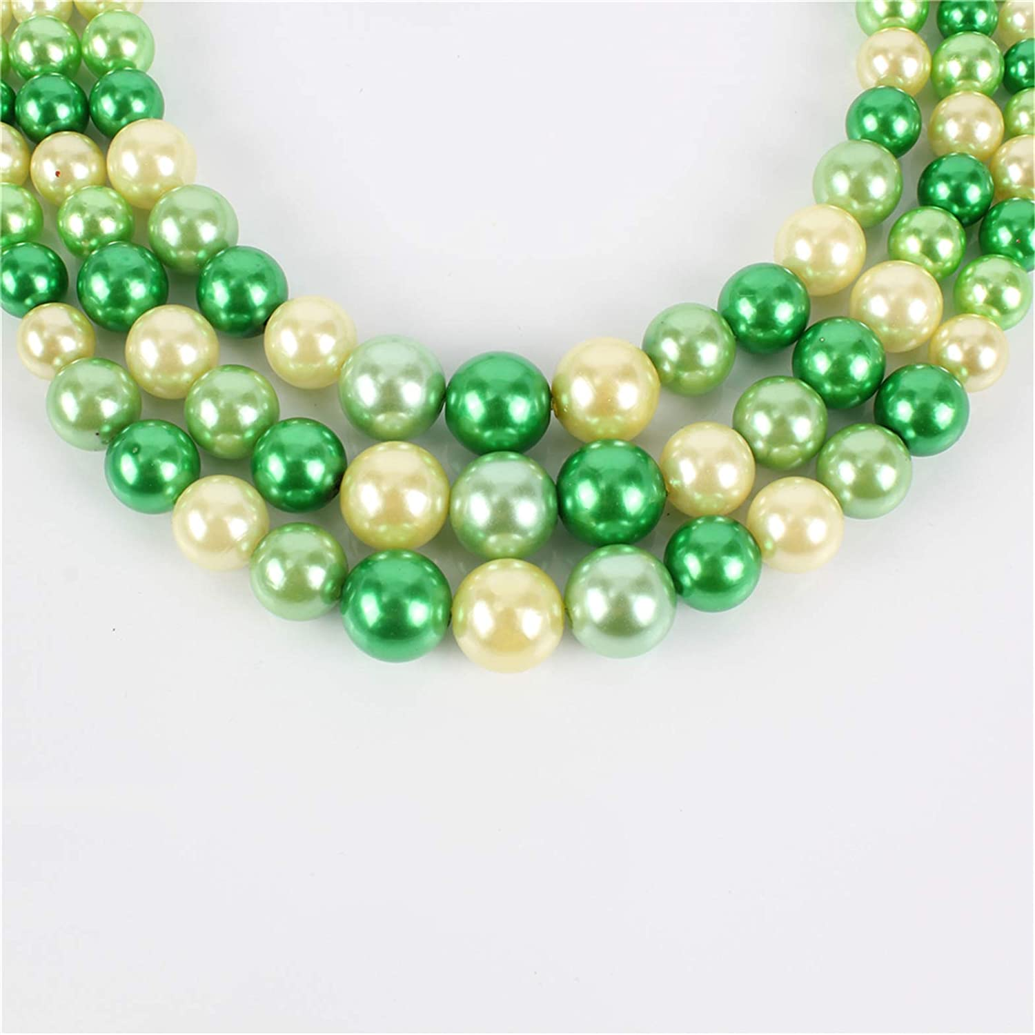 Ufraky Women's Mixed Color Simulated Faux Pearl Multi Strands Necklace Earrings Elastic Bracelet Gift Jewelry