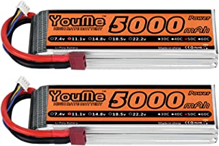 Youme 2 Packs 5000mAh 11.1V 3S Lipo Battery Pack 50C Max 100C Deans T Plug Connector for RC Helicopter,RC Car,Multirotor, RC Drone,RC Boat,RC Truck(6.1x1.9x0.94inch,0.83lb)
