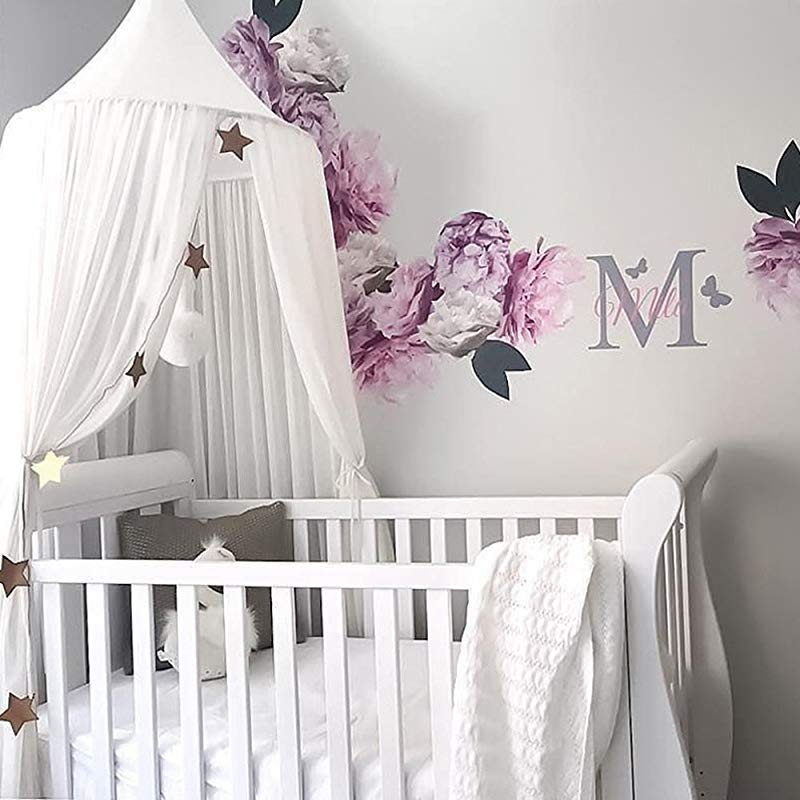 Ivivian Mosquito Net Canopy Dome Princess Bed Canopy Bedcover Curtain Tent Children S Room Decorate For Baby Kids Indoor Outdoor Playing Reading 240cm White